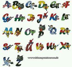 ♥Meus Gráficos De Ponto Cruz♥: Alfabeto dos Super-Heróis Vingadores Baby em Ponto Cruz