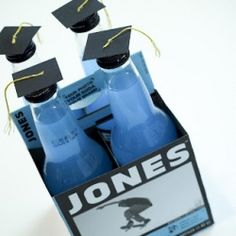 Turn Jones bottles into a cute gift for your grad! OMG I LOVE THIS IDEA!!!! (Maybe use more adult beverages for a college grad? ;D)