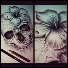 Lilly and skull tatt. Want something like this on my upper arm....#inspirationtatt