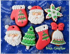 Gingerbread or sugar cookies for decorating   decorated Christmas cookies ~ Santa, tree, mittens, star / Cookie Connection