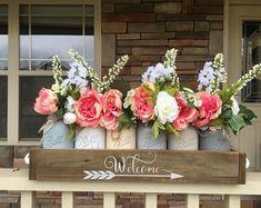 spring centerpiece, spring time decor, sprint wreath, mason jar centerpiece, table decor, mason jar table decor, wedding decorations, pink