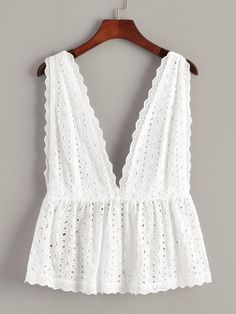 To find out about the Plus Eyelet Embroidery Deep V Neck Backless Top at SHEIN, part of our latest Plus Size Tank Tops & Camis ready to shop online today! Look Fashion, Fashion Clothes, Fashion Outfits, Womens Fashion, Fashion Trends, Lolita Fashion, Daily Fashion, Everyday Fashion, Fashion Fashion