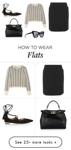 """Sin título #4595"" by ceciliaamuedo on Polyvore featuring A.P.C., Tory Burch, Aquazzura, Fendi and Le Specs"