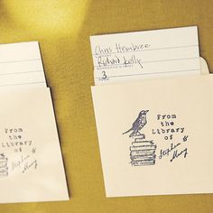 Or library cards into escort cards: | 31 Beautiful Ideas For A Book-Inspired Wedding