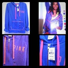 I just discovered this while shopping on Poshmark: NWT Victoria's Secret Blue Perfect Zip Hoodie XS. Check it out!  Size: XS