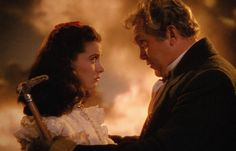 Still of Vivien Leigh and Thomas Mitchell (papa) in Gone with the Wind  -- Only one thing is worth living for and only one thing is worth dying for, Katie Scarlett and that is LAND!!