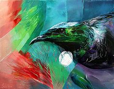 sheila brown nz bird artist, tui, green, blue and red colors