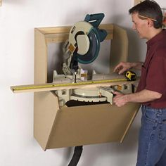 """Woodworking Shop On-the-Wall Mitersaw Station Woodworking Plan from WOOD Magazine - Made of only and '"""" MDF, this wall-hugging unit not only preserves floor space (it's just deep), it also contains the blast of sawdust from a notoriously messy tool. Learn Woodworking, Woodworking Patterns, Woodworking Workbench, Popular Woodworking, Woodworking Furniture, Woodworking Crafts, Woodworking Techniques, Woodworking Basics, Sauder Woodworking"""