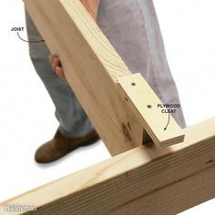 Woodworking Tips Screw On a Cleat to Hold a Board - A small plywood cleat screwed to the top of a joist will hold it up while you nail the opposite end. Easy Woodworking Projects, Popular Woodworking, Woodworking Techniques, Woodworking Furniture, Fine Woodworking, Diy Wood Projects, Home Projects, Diy Furniture, Woodworking Beginner