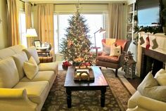 living room with christmas tree - Google Search
