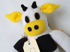 Chloe Cow. Handmade sock cow, sock monkey, soft plush cow, toy cow for children. Softie.