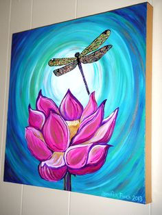 Lotus Be Free....Original Acrylic 18x18 Canvas Painting Jennifer Finch 2013 Glossy Lotus Hot Pink Dragonfly Zen $50.00