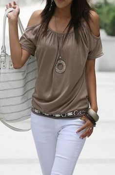 Love this Outfit for Summer! Khaki + White Sexy Cold Shoulder Short Sleeve Off-The-Shoulder Solid Color Women's T-Shirt
