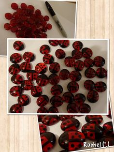 "Glass Nugget Ladybirds - originally made for counting, but used in other ways too - from Rachel ("",)"