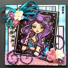Lucy loves scrapping: Crafts & Me, Hannah Lynn digital girly image, handmade pink purple blue black card