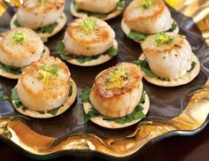 These zesty Lemon-Lime Scallop Canapés bring an excellent citrus flavor to any tea. Canapes Recipes, Lime Recipes, Tea Recipes, Dinner Party Appetizers, Seafood Appetizers, Tapas, Tea Snacks, Party Dishes, Tea Sandwiches