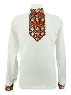 White emroidery with bright red Pre-Carpathian pattern