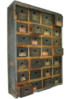 Vintage CHEST OF 28-DRAWERS Hardware TOOL BOX Apothecary Cabinet SPICE Cubbies | eBay