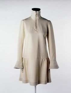 1966 Mary Quant dress.  Mary wore this when she went to Buckingham Palace in 1966 to accept her OBE from the Queen. It was worn with a navy wool beret, navy leather shoes, and navy tights. #fashion