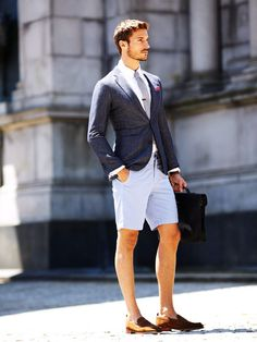 Light Summer Suit with Shorts and Cognac Loafers.