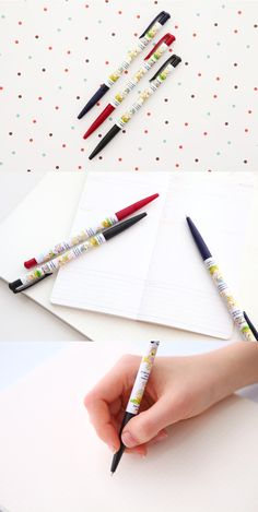 Why settle for 1 super cute, smooth writing pen when you can have 3? ^.~* The adorable Bear's Family Pen Set includes black, blue, and red 0.7mm ballpoint pens with the cutest illustrations and quotes!