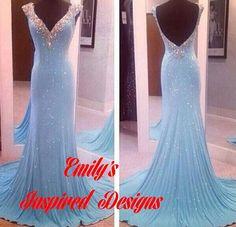 Blue Beaded Prom Gown Trumpet Mermaid Look by EmilysInspiredDesign