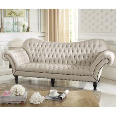 Baxton Studio Bostwick Beige Linen Classic Victorian Sofa | Overstock.com Shopping - Great Deals on Baxton Studio Sofas & Loveseats