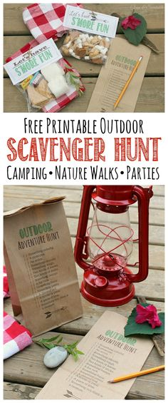 Free printable outdoor scavenger hunt.  Print this directly onto a paper bag so your kiddos have somewhere to collect all of their goodies!  Perfect for camping, nature walks, and camping parties!    #outdooractivities #scavengerhunt #summeractivities #activitiesforkids #outdoorscavengerhunt #campingparty #naturewalks