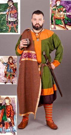 west slavic nobleman All inspired by carolingian imperial court fashion. Based almost completely on Stuttgart Psalter Viking Garb, Viking Reenactment, Viking Costume, Viking Warrior, Medieval Costume, Viking Clothing, Historical Clothing, Viking People, Mens Garb