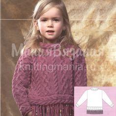 свитер +для девочки спицами