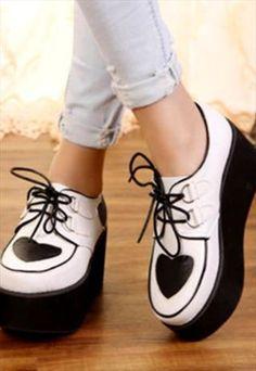 Vintage White Heart Platform Shoes