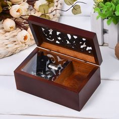 buy hot sale simple retro style mini vintage wood case music box clockwork music box simple design nice #music #boxes