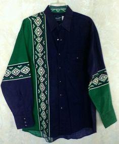 629e40cc458 Mens WRANGLER Large Western Button Down Shirt Blue Green Long Sleeve Pearl  Snap