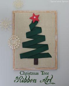 Spool and Spoon: Christmas Tree Ribbon Art Black Christmas Tree Decorations, Ribbon On Christmas Tree, Cool Christmas Trees, Christmas Art, Christmas Holidays, Christmas Ornaments, Burlap Crafts, Holiday Crafts, Karten Diy