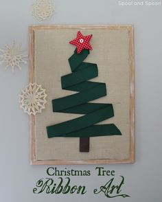 HUGE Christmas Tree Wall Art made out of a large cork board and ribbon