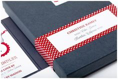 Baby Shower invitations in a box with red and white polka dots
