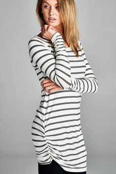 White & Black Stripe Ruched Side Tunic Top Made in USA 96% Modal, 4% Spandex The Perfect Tunic Top that goes great with Leggings
