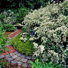 Mix up the stones used in a garden path for a relaxed look. More ideas for garden walkways: http://www.bhg.com/home-improvement/outdoor/walkways/brick-walkways/?socsrc=bhgpin041313mixedpath=2