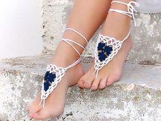 Barefoot sandals Crochet White Blue wedding barefoot by Lasunka, €9.00