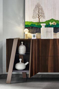 Modern minimalistic draws in a living room. Contemporary Living Room Furniture, Living Room Modern, Contemporary Furniture, Modern Drawers, Modern Bookcase, Italian Furniture, Armchair, Minimalist, Drawings