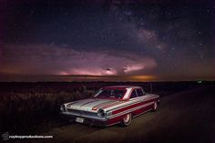 My favorite photo of my car. It was quite an accident just happening to be driving the Galaxie one night with the camera in the trunk and a thunderstorm sharing the sky with the Milky Way. Without any flashes I had to improvise and light paint the car wit Light Painting Photography, Night Photography, Photography Ideas, Our Solar System, Long Exposure, Car Lights, Car Photos, Milky Way, Custom Cars