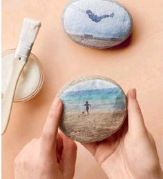 Rock Weights - transfer images to rocks with rice paper - Martha Stewart