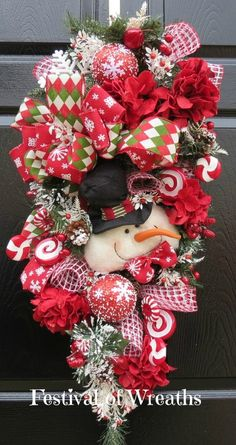 Christmas Wreath Swag - Winter Wreath Swag - Front Door Wreath - Christmas Mesh Wreath - Winter Mesh Wreath - Snowman Swag - Winter Swag