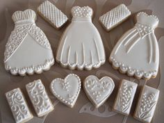 Wedding dress biscuits by Simply Alpa Wedding Snacks, Wedding Favours, Cool Cake Designs, Wedding Cake Designs, Wedding Dress Cookies, Amazing Cakes, Cake Ideas, Biscuits, Cake Decorating
