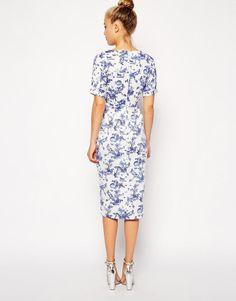 ASOS Petite | ASOS PETITE Wiggle Dress in Summer Days Print at ASOS
