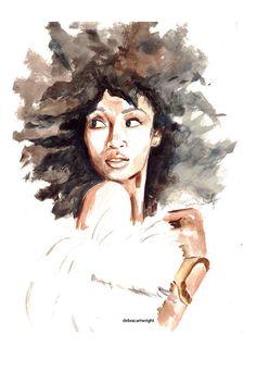 Delicate+Watercolors+Combat+Oversimplified+'Strong+Black+Woman'+Stereotype/Deborah Cartwright is the artist