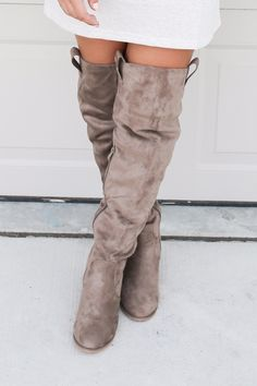 All The Way Up Taupe Suede Tall Boot