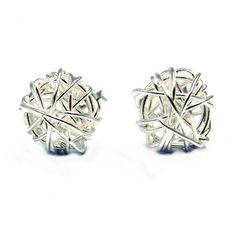 Silver Tangled Wire Wrap Round Post Earrings (Thailand) - Overstock™ Shopping - Great Deals on Earrings