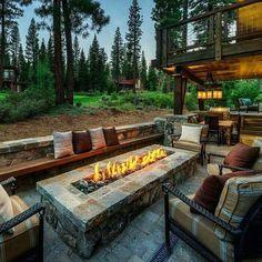 Cozy Backyard, Backyard Seating, Fire Pit Backyard, Backyard Landscaping, Landscaping Ideas, Outdoor Seating, Outdoor Fire Pits, Outdoor Grill, Fire Pit Bbq