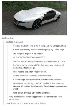 THIS CAR Tumblr funny ^^^ I WANT DAT CAR!!! I can be all James-Bond in it or feel like Batman. I'd be badass